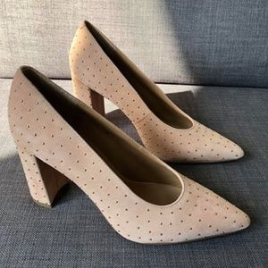 Banana Republic Nude Suede Gold Embellished Pumps